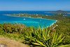 Magens Bay and tropical vegetation from a mountain overlook in St. Thomas, US Virgin Islands, Caribbean, West Indies.