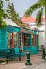 Shops and restaurants in Philipsburg, St. Maarten, Caribbean Island.