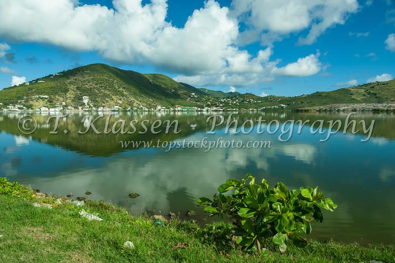 The Great Salt Pond in Philipsburg, Sint Maarten, Netherlands Antilles, Caribbean.