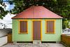 Colorful building architecture in Philipsburg, St. Maarten, Caribbean Island.