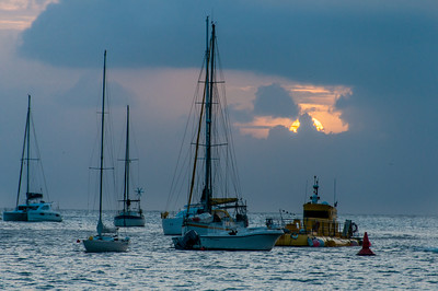 Sunset over Gustavia Harbour in St. Bart's