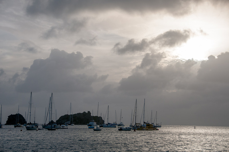 Heavy clouds over Gustavia Harbour in St. Bart's