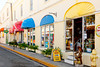Streets with shops and restaurants in Christiansted, Virgin Islands, Caribbean, West Indies.