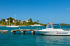 The inner harbour and pier in Christiansted, St. Croix, Virgin Islands, Caribbean, West Indies.