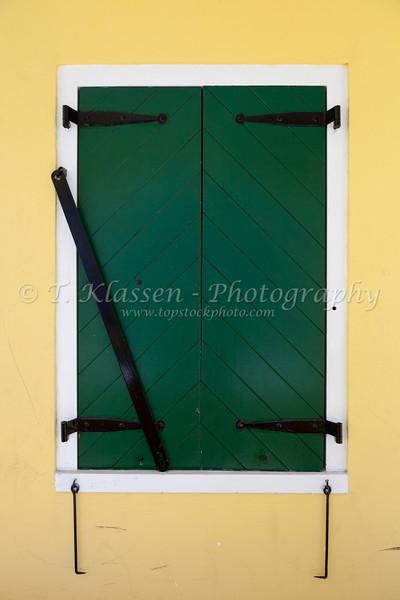 Doors and windows in buildings in Christiansted, St. Croix, Virgin Islands, Caribbean, West Indies.