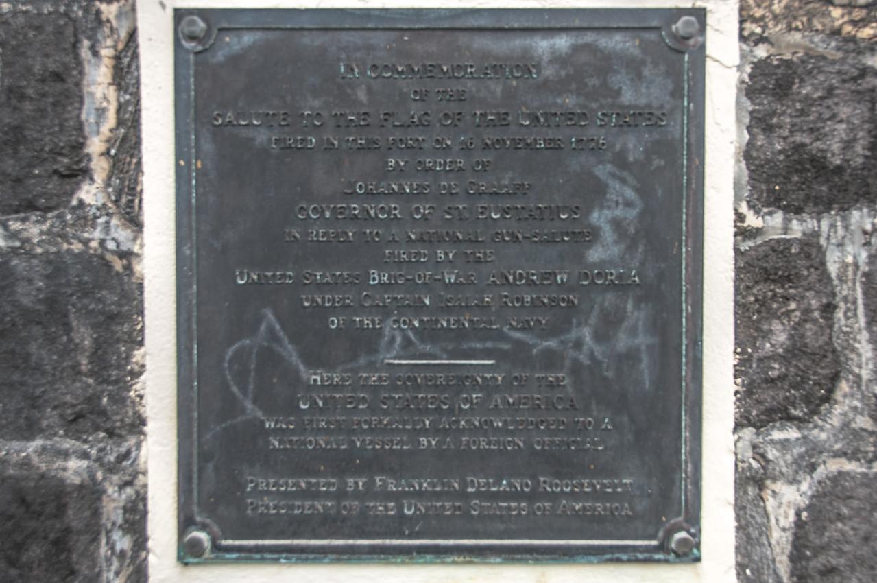 Memorial plaque on Fort Oranje in Oranjestad, St. Eustatius