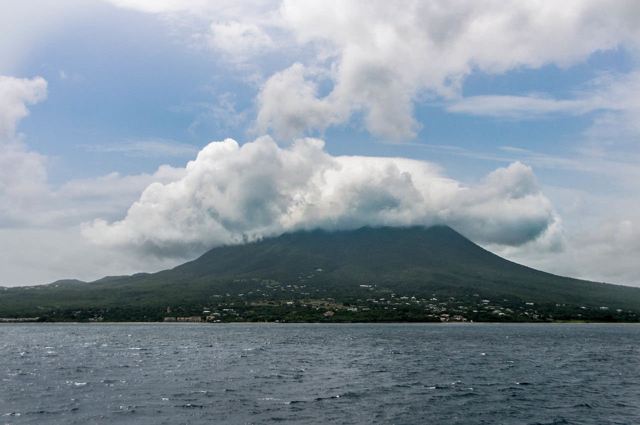 View of Nevis Island from the boat