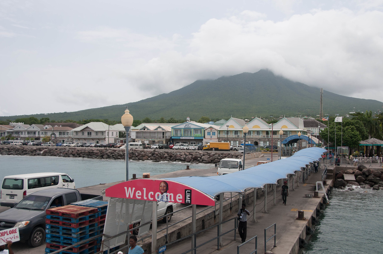 Waterfront walk and pier at Nevis Island