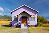 A purple colored church in rural St. Kitts, Caribbean, West Indies.