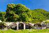 The ruins of aquaducts formerly used for the nearby sugar mill in rural St. Kitts, Caribbean, West Indies.