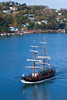 A sailing vessel entering Castries harbour in St. Lucia, Caribbean, West Indies.