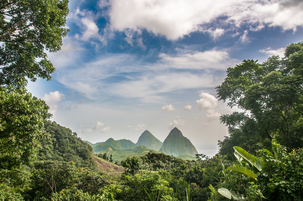 The Pitons Mountains on Saint Lucia