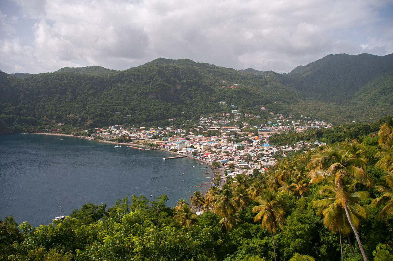 View of the coastline of St. Lucia