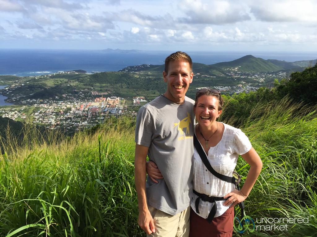 Dan and Audrey at the top of Pic Paradis - St. Martin