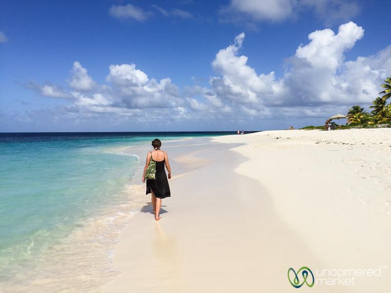 Audrey Takes Walk Along Shoal Bay - Anguilla