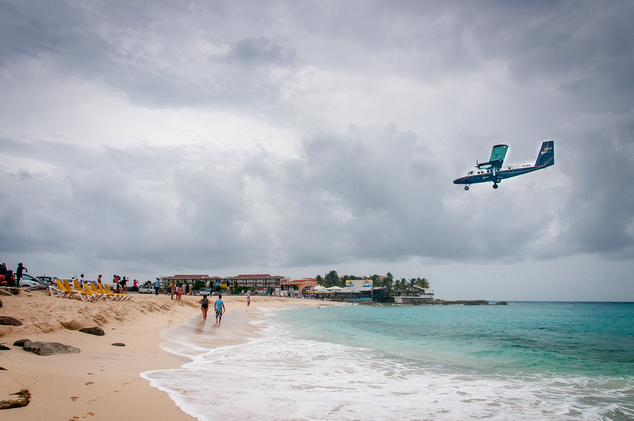 Airplane approaching landing at Maho Beach in St. Martin
