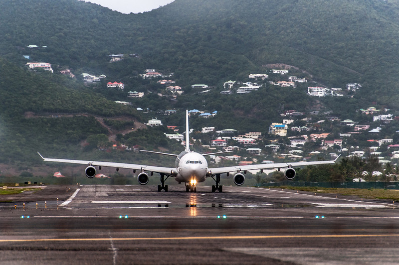 Airplane ready for take-off from Princess Juliana International Airport