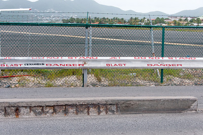 Railing that separate airport from the beach in St. Martin