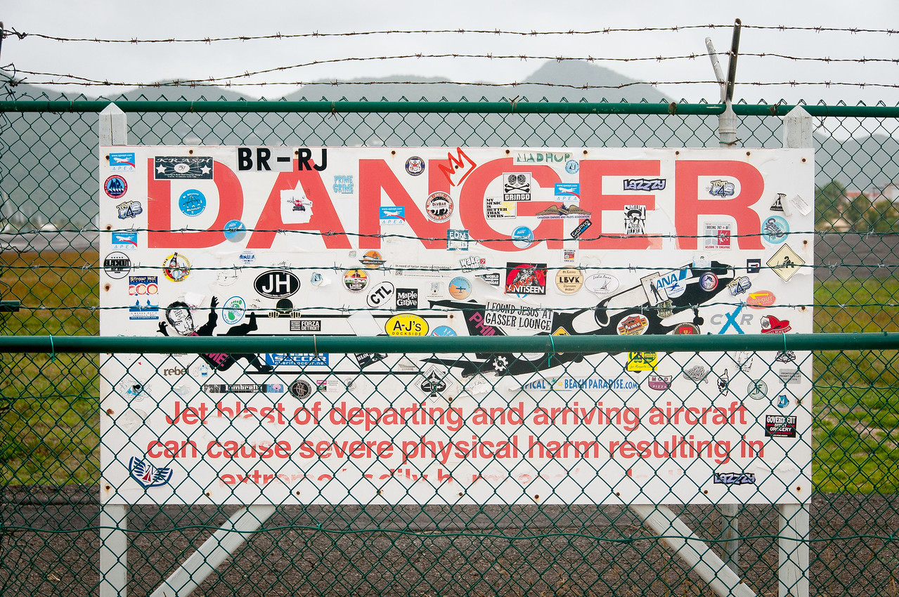 Danger sign near the Princess Juliana International Airport in St. Martin