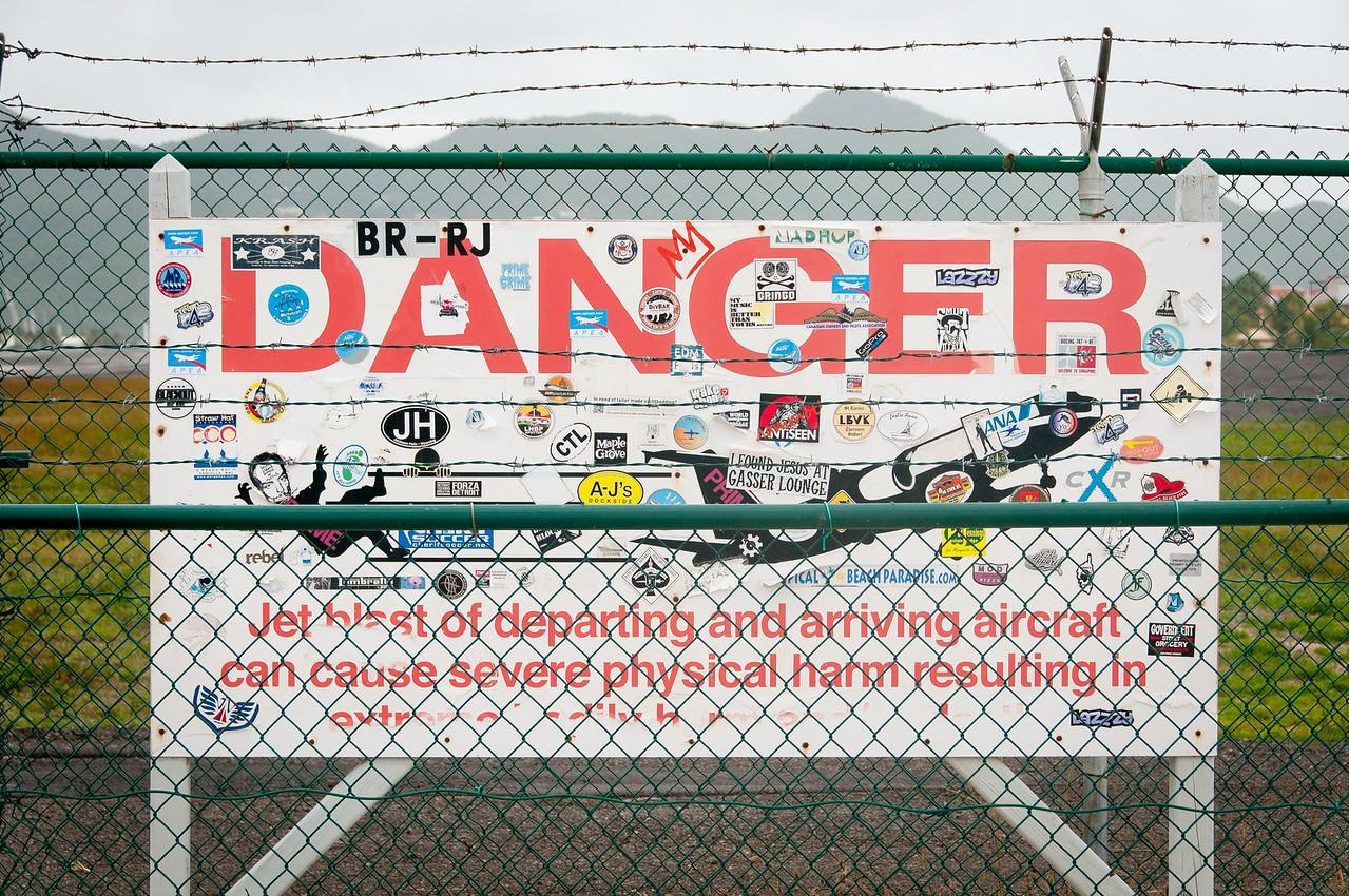 Danger sign near the Princess Juliana International Airport in St. Martin