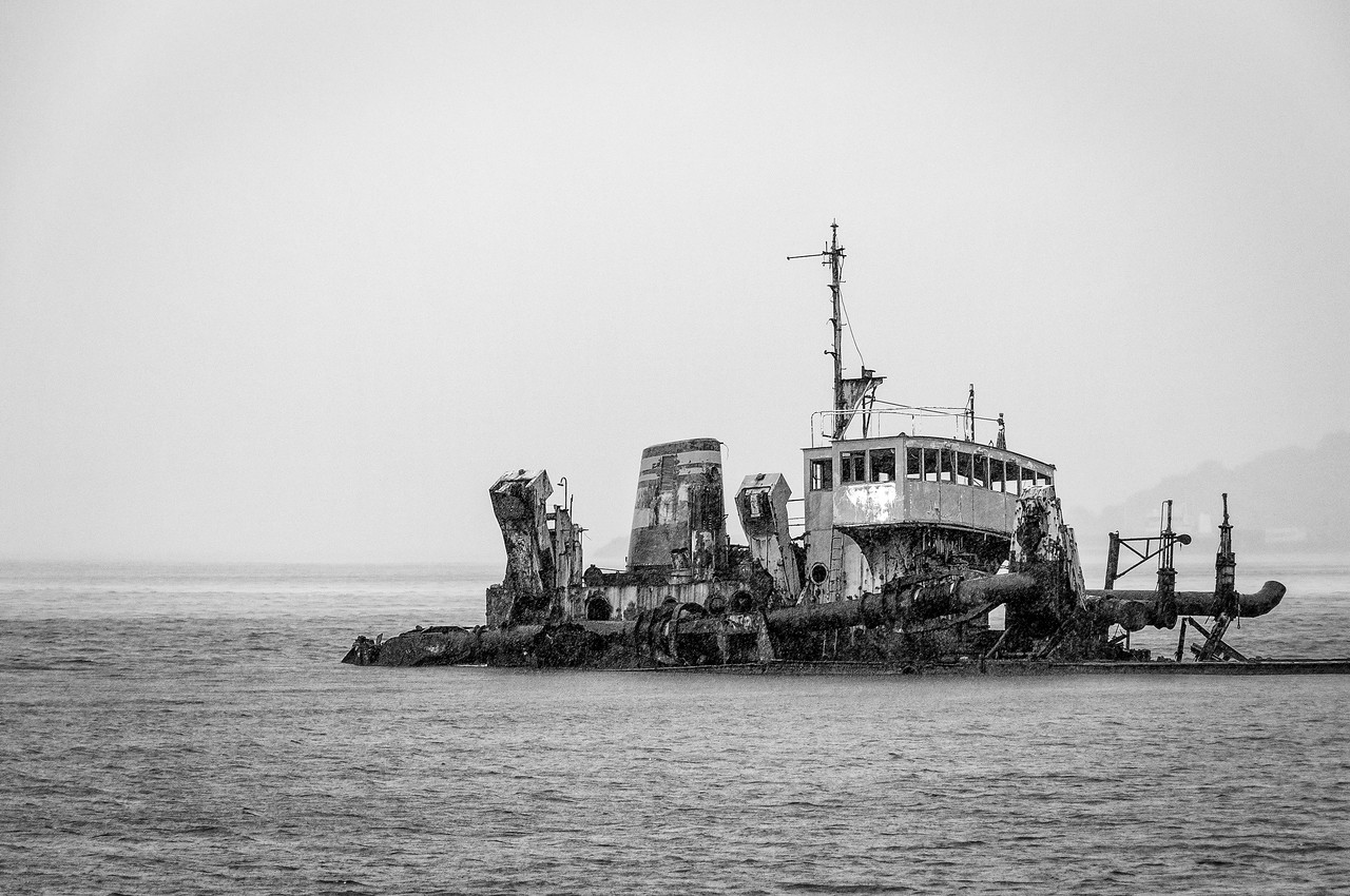 Shipwreck on the island of St. Martin