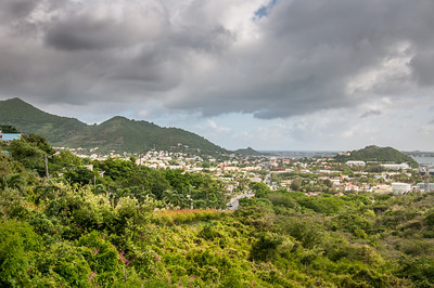 Heavy clouds over the island of St. Martin