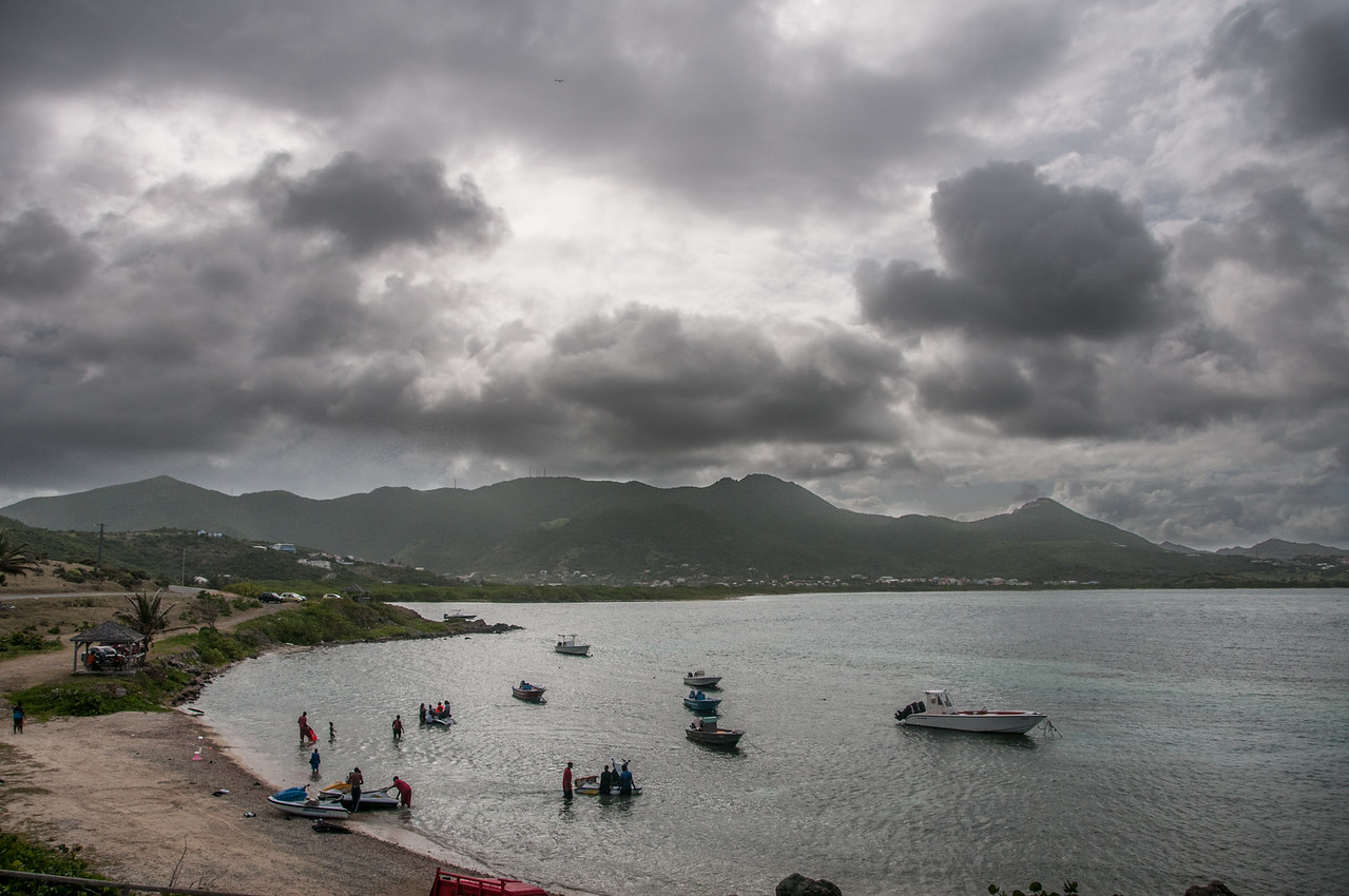 Dark clouds over the coastline on the island of St. Martin