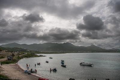 Dark clouds over the coastline on the island of St. Martin