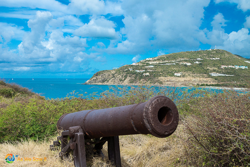 Old cannon on a hill in St Maarten