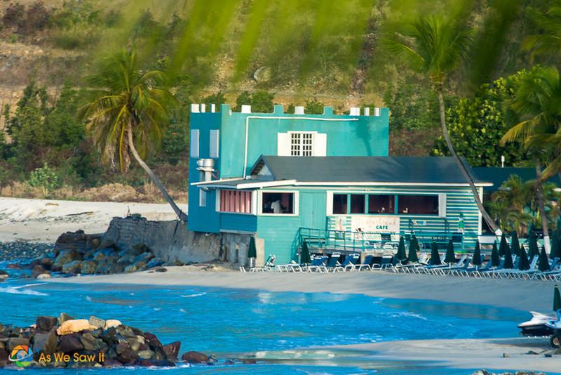 Quaint aqua cafe along the water in St Maarten