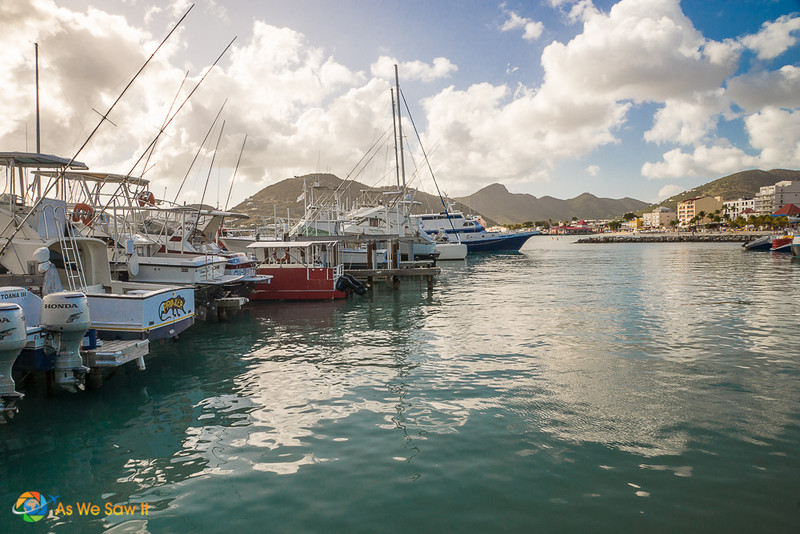 Sailboats moored at a marina in St. Maarten