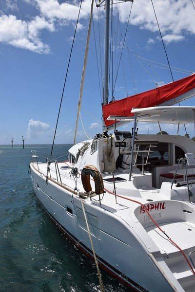 Our home for the next 6 nights! A 38' catamaran named Isaphil
