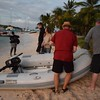 Tying up the dinghy ashore with our instructor Joel before our BBQ lobster dinner