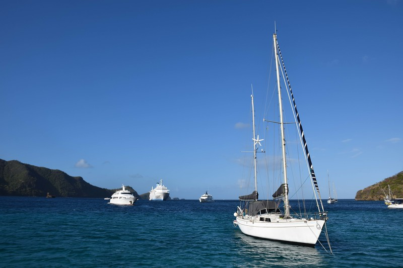 Getting ready to anchor in Bequia after the 2-hour sail over