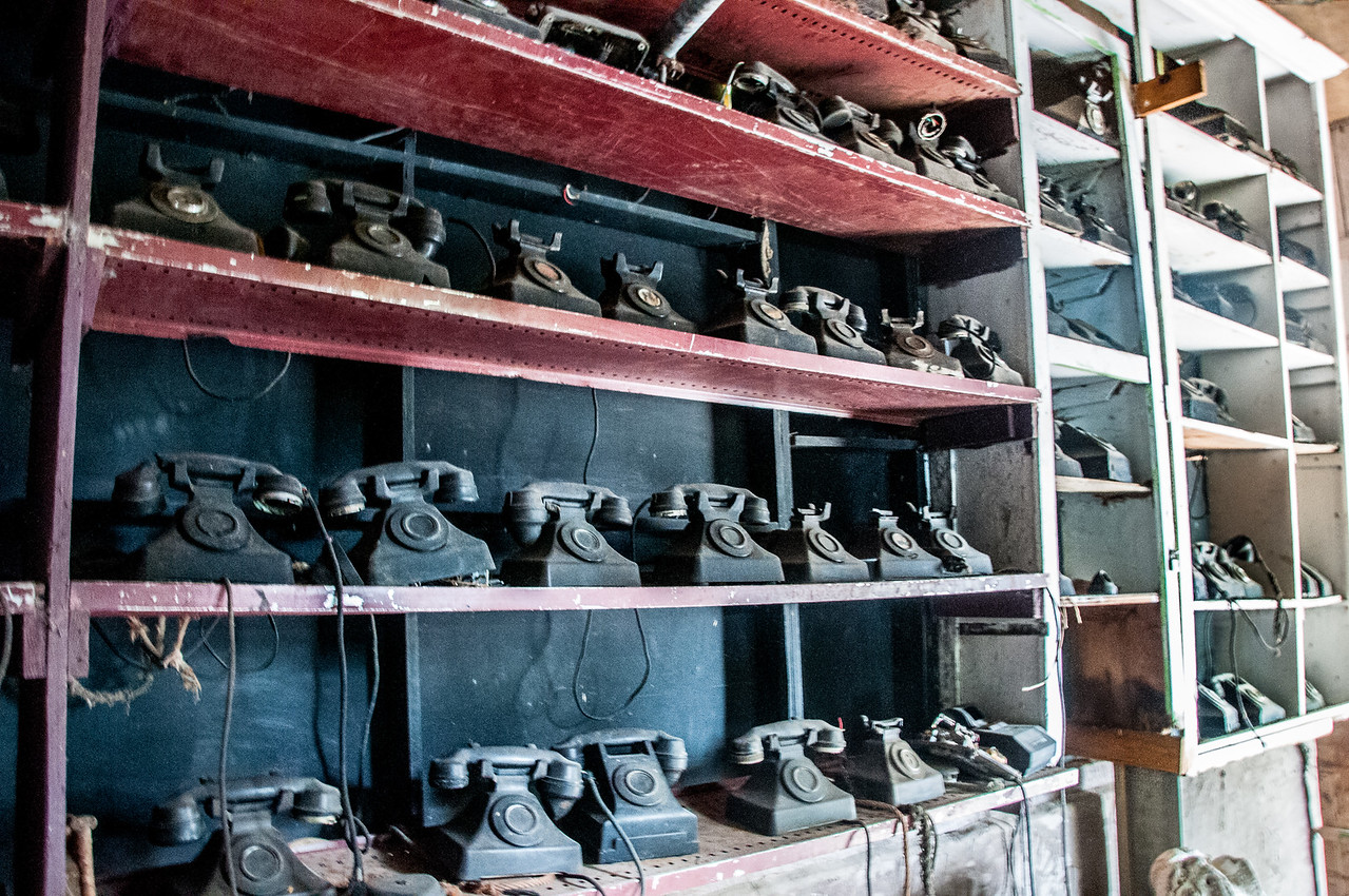 Row of vintage phones on the island of St. Vincent