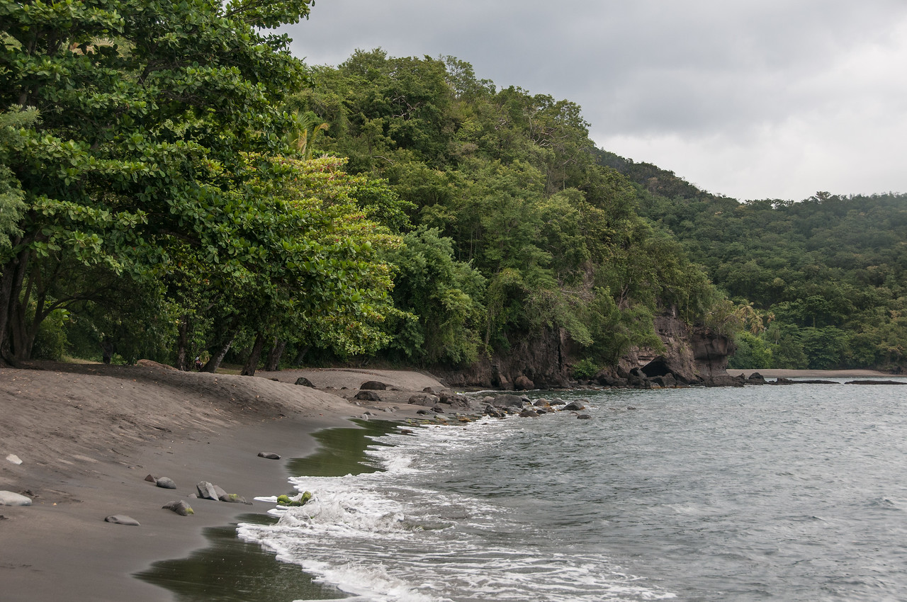 Black Sand Beach along the Coast of St. Vincent