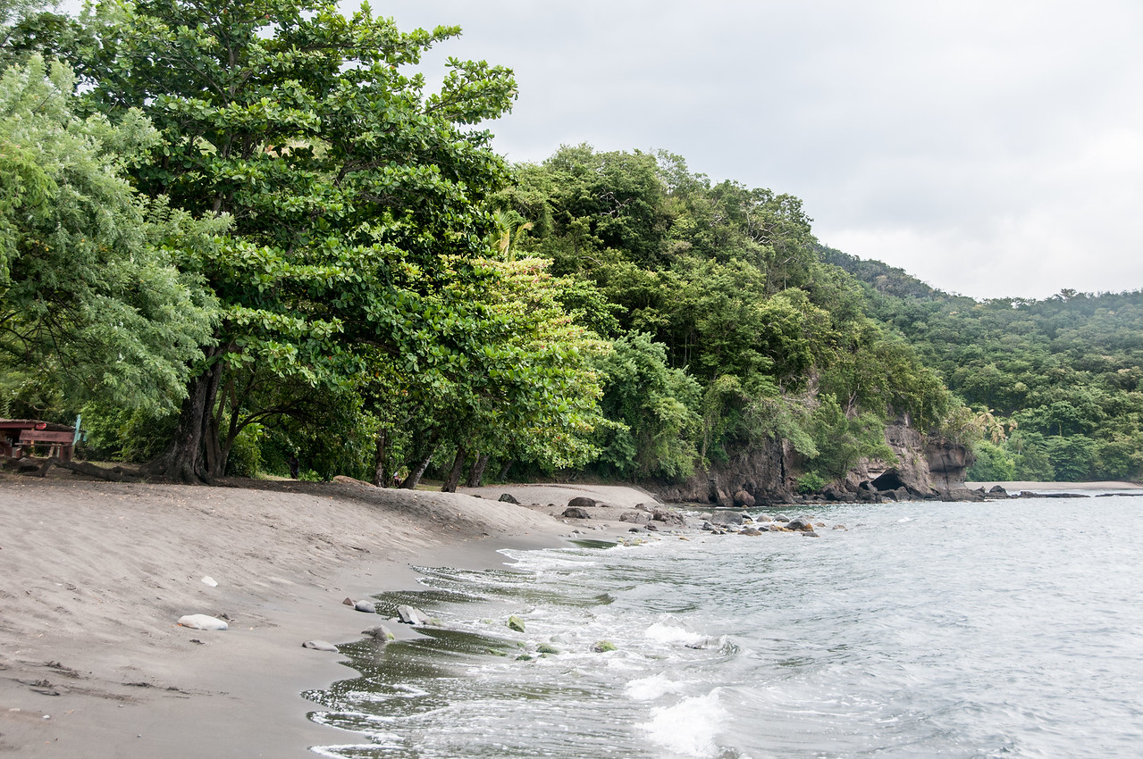 Black Sand Beach along the Coast of St. Vincent