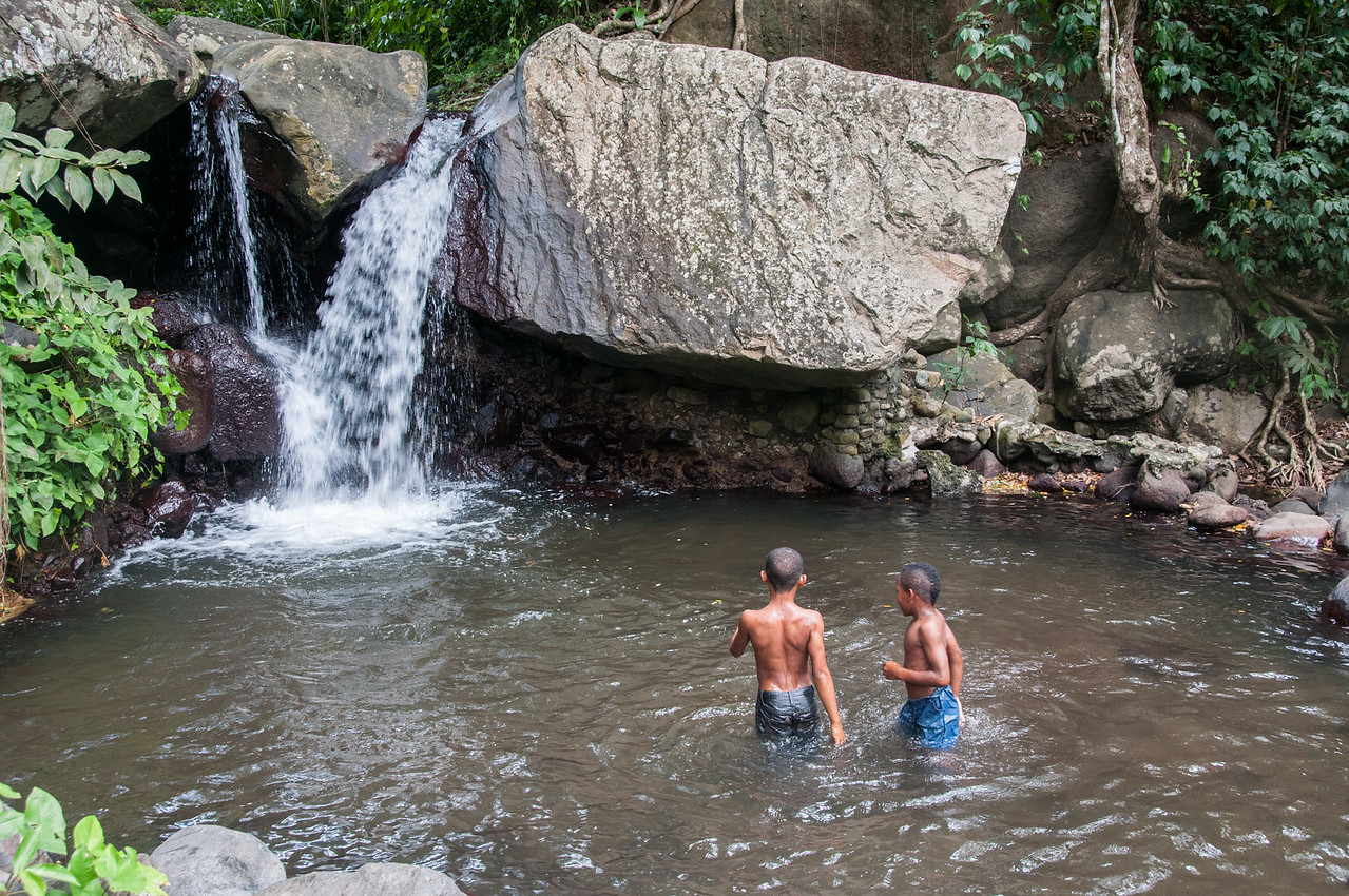 Boys swimming near a falls on the island of St. Vincent