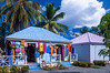 Stores and gift shops at the Road Town cruise ship terminal in Tortola, the British Virgin Islands, Caribbean.