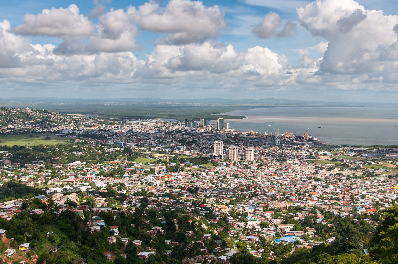 Aerial view of the skyline in Trinidad, Trinidad and Tobago