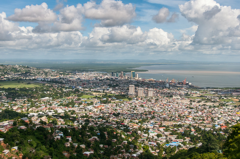 Aerial view of the skyline in Trinidad, Trinidad and Tobago