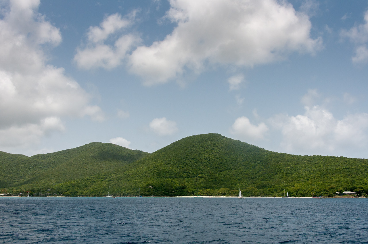 View of the US Virgin Islands from the sea