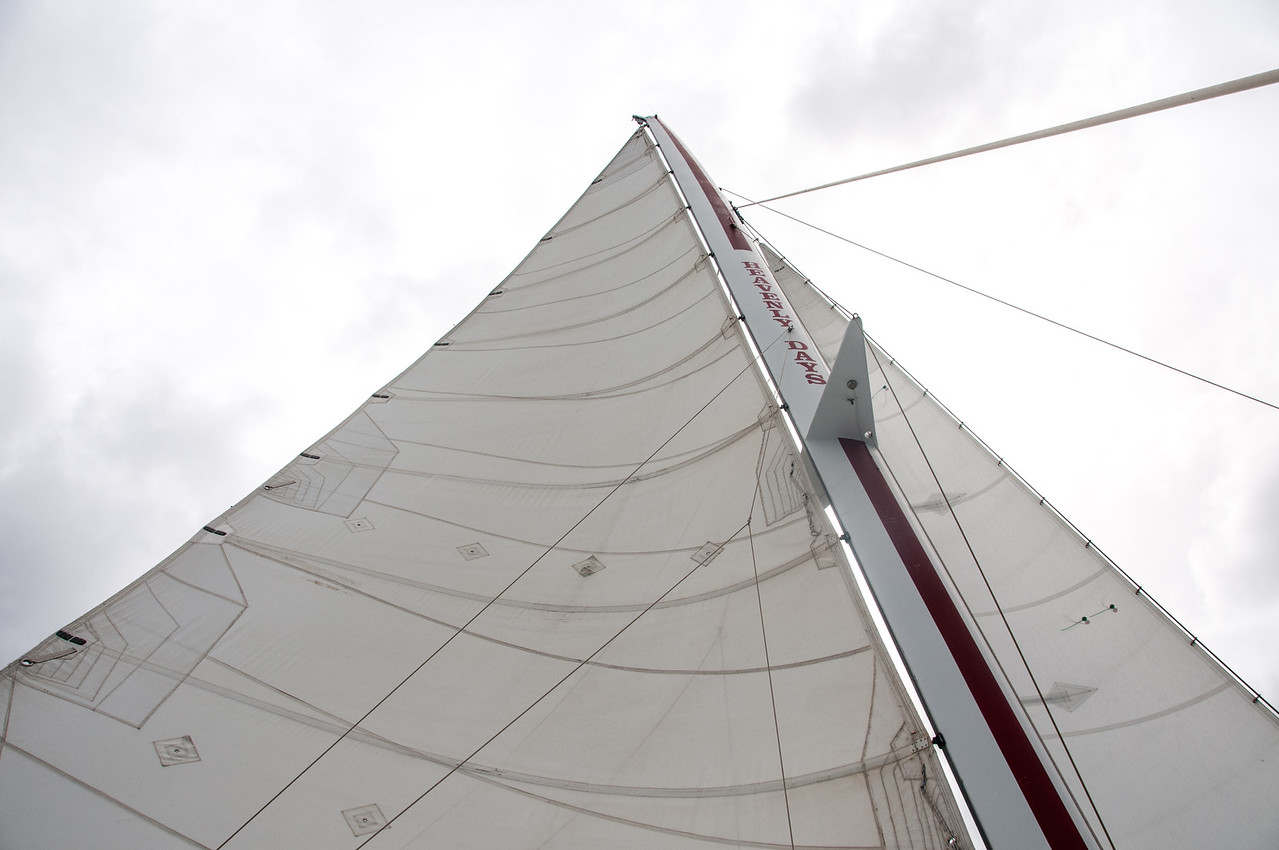Looking up the boat's sail - US Virgin Islands