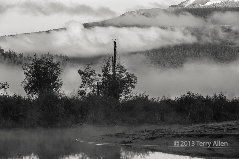 Bend in the Mitchell River with mists, Cariboo-Chilcotin country, British Columbia