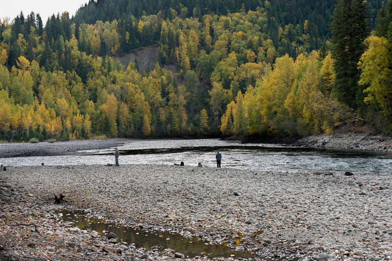 Fishing at the junction of the Quesnel and Cariboo Rivers where the ghost town of Quesnel Forks was established in 1859, near Likely, British Columbia