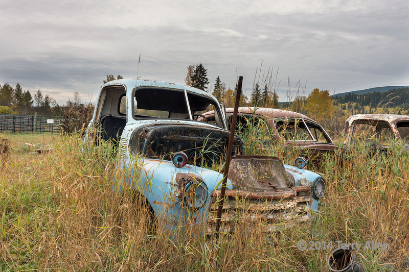 Antique truck and cars, near Likely, British Colulmbi