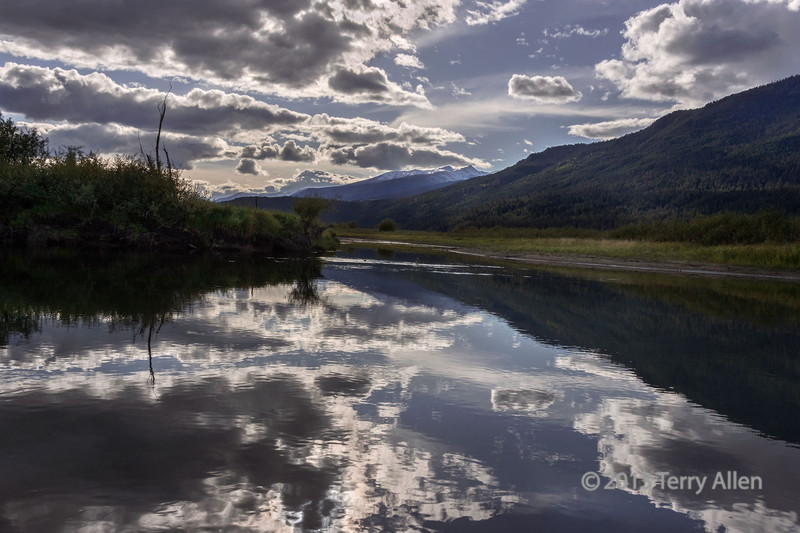 Late day reflections on the Mitchell River, Cariboo-Chilcotin, British Columbia