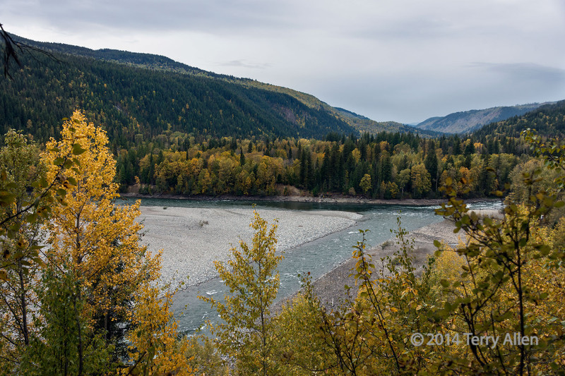 Junction of the Cariboo and Quesnel Rivers where the town of Quesnel Forks grew up before it was abandoned in the 1950s