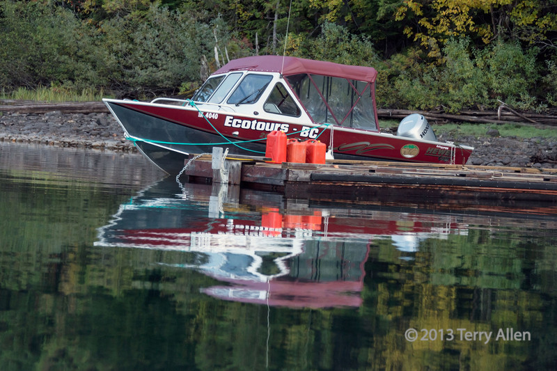 Ecotours BC aluminum boat on Quesnel Lake, British Columbia
