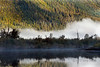 Mist on the Mitchell River and fall colors with reflections, Mitchell River, Cariboo-Chilcotin region, British Columbia